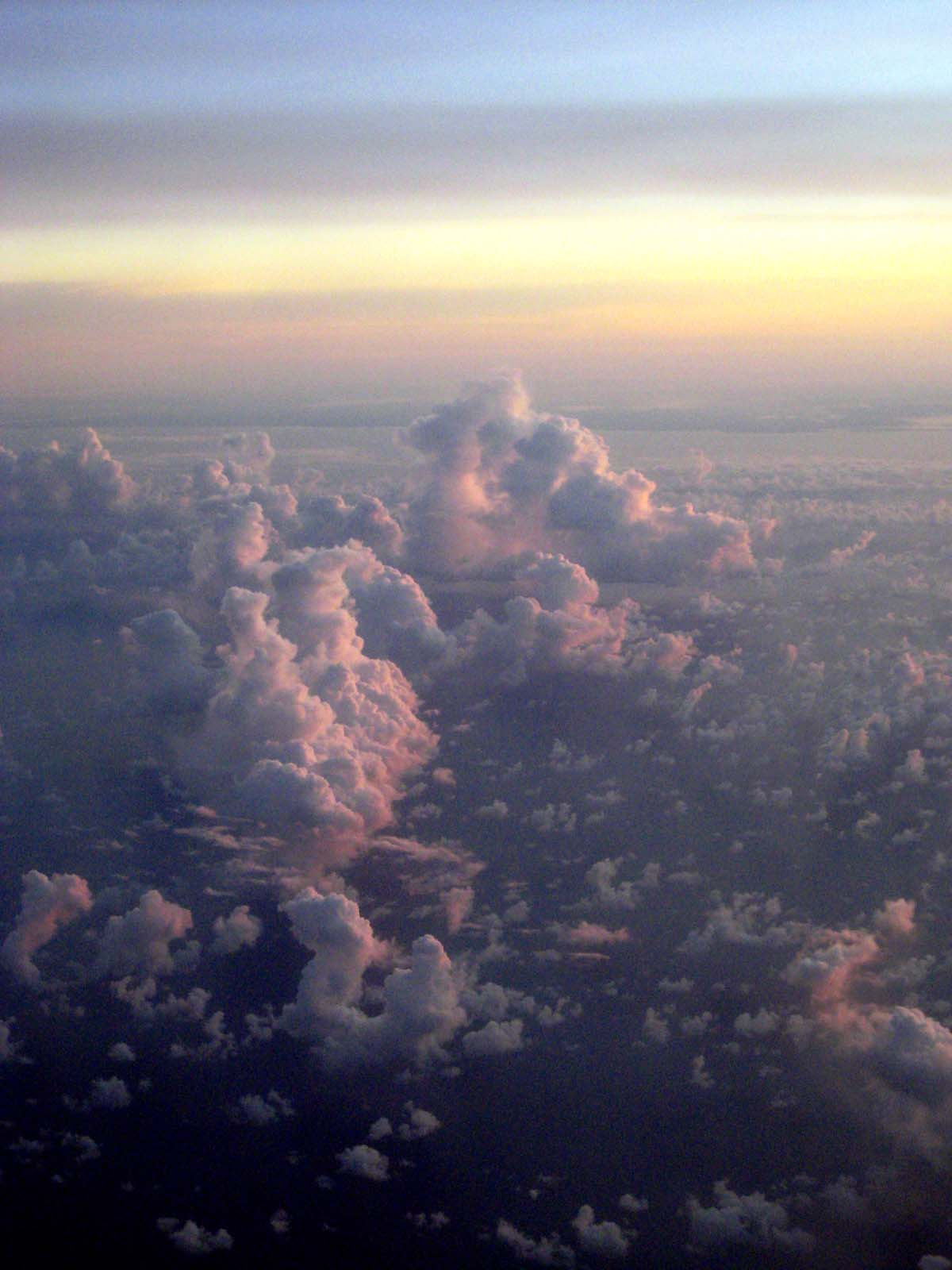 Sunrise from the plane, over Cairns
